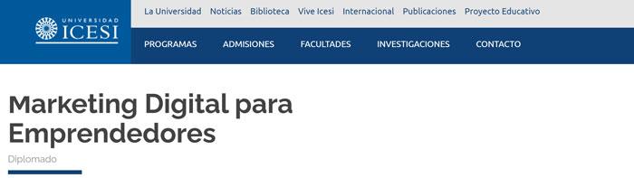 icesi universidad de colombia para estudiar marketing digital para emprendedores