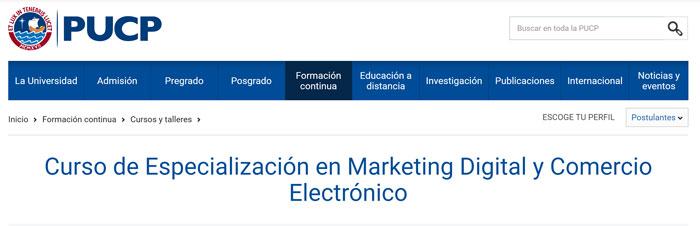especializacion en marketing digital en universidad pucp peru