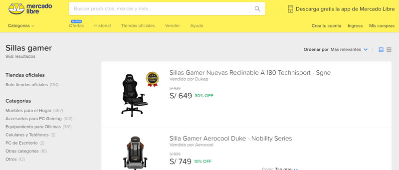 sillas-gamer-mercado-libre-peru